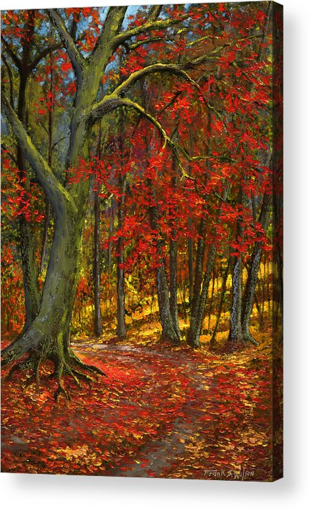 Landscape Acrylic Print featuring the painting Fallen Leaves by Frank Wilson