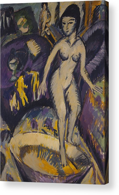 Kirchner Acrylic Print featuring the painting Female Nude With Hot Tub by Ernst Ludwig Kirchner