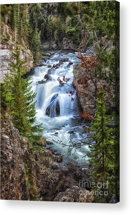Firehole Falls Acrylic Print featuring the photograph Firehole Falls by Sophie Doell