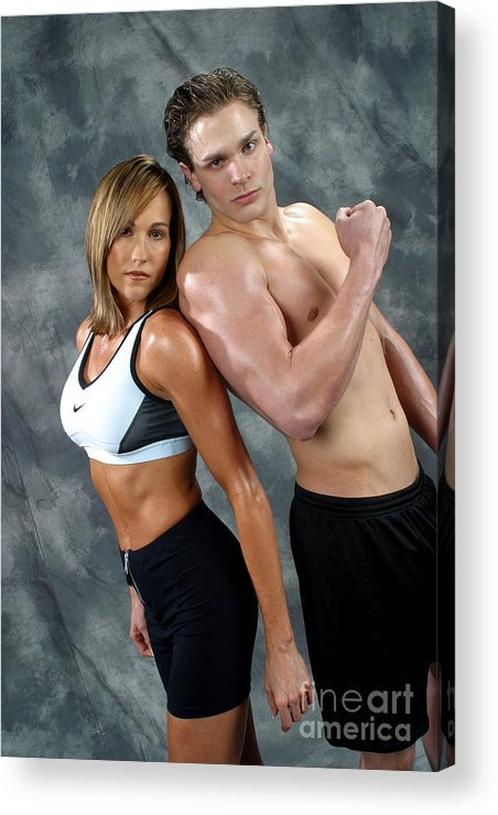 Model Acrylic Print featuring the photograph Fitness Couple 43 by Gary Gingrich Galleries
