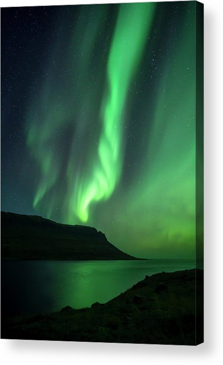 Iceland Acrylic Print featuring the photograph Fjord Night by Karsten Wrobel
