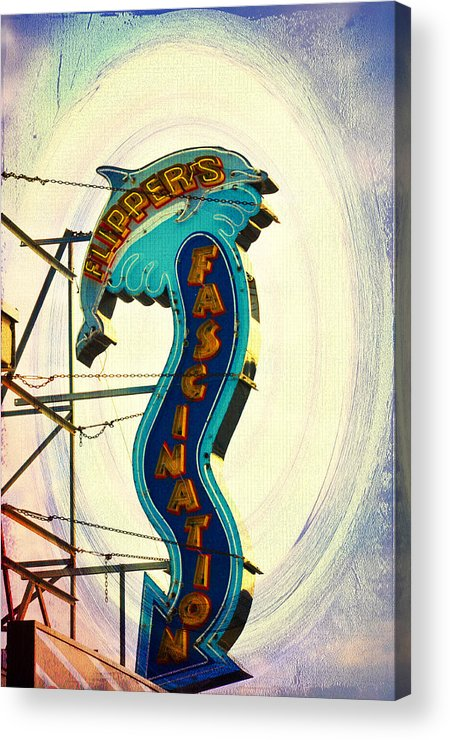 Flippers Facination - Wildwood Boardwalk Acrylic Print featuring the photograph Flippers Facination - Wildwood Boardwalk by Bill Cannon