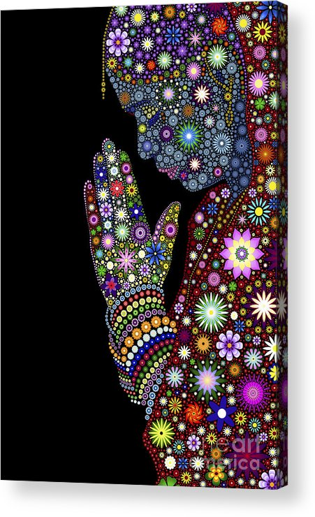 Flower Acrylic Print featuring the digital art Flower Prayer Girl by Tim Gainey