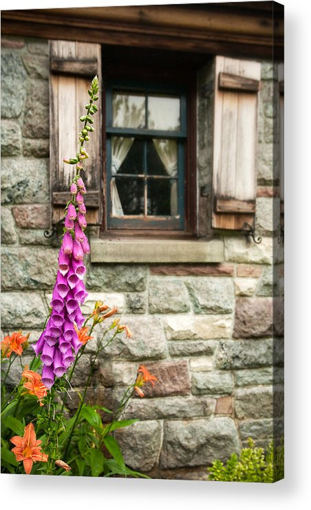Flowers Acrylic Print featuring the photograph Flowers Stone And Old Country Window by Gary Heller