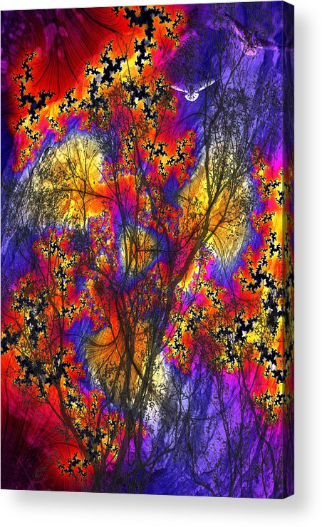 Forest Fire Acrylic Print featuring the digital art Forest Fire by Lisa Yount