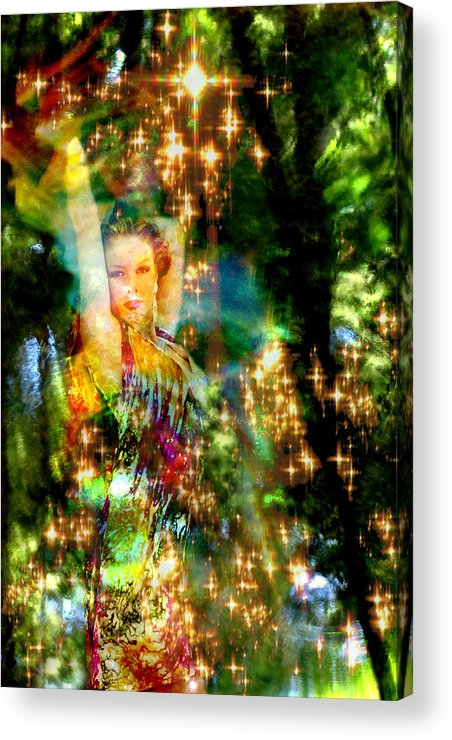Forest Acrylic Print featuring the digital art Forest Goddess 4 by Lisa Yount