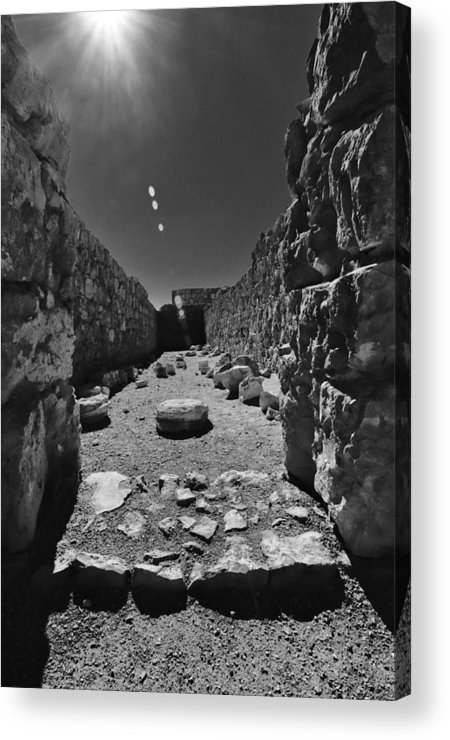 Artistic Photograph Of The Fortress Of Masada In The Desert Wilderness Israel Acrylic Print featuring the photograph Fortress Of Masada Israel 2 by Mark Fuller