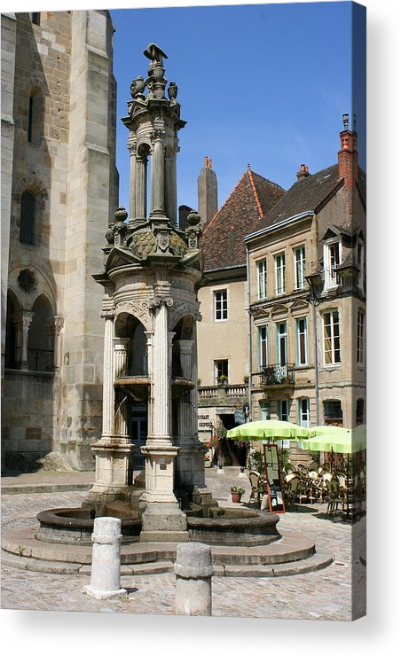Autun Acrylic Print featuring the photograph Fountain On The Market Place Autun by Christiane Schulze Art And Photography