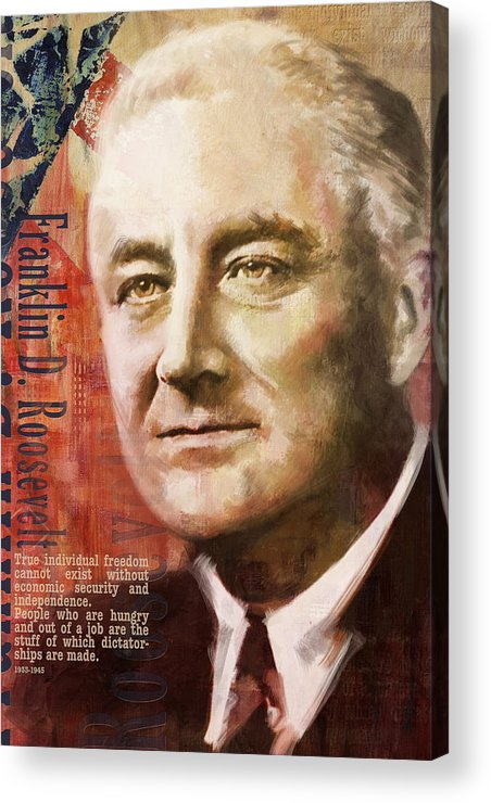 Franklin D. Roosevelt Acrylic Print featuring the painting Franklin D. Roosevelt by Corporate Art Task Force