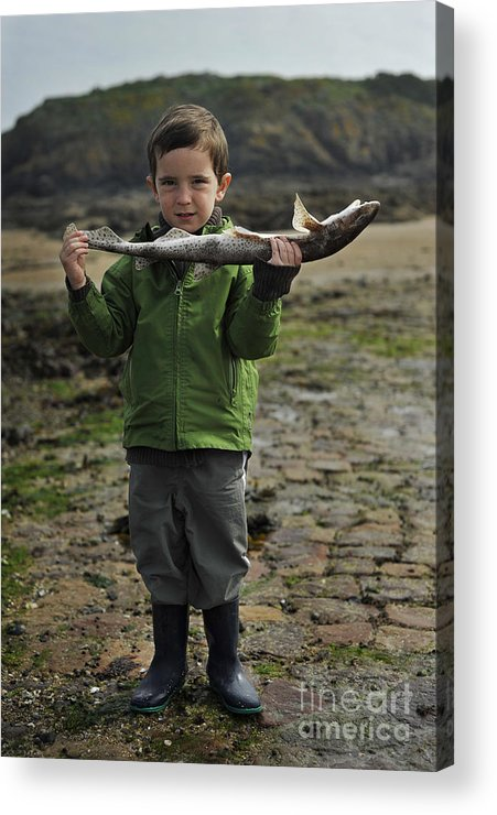 Boy. Fish. Portrait Of Boy Acrylic Print featuring the photograph French Boy With Fish by Tina Osterhoudt