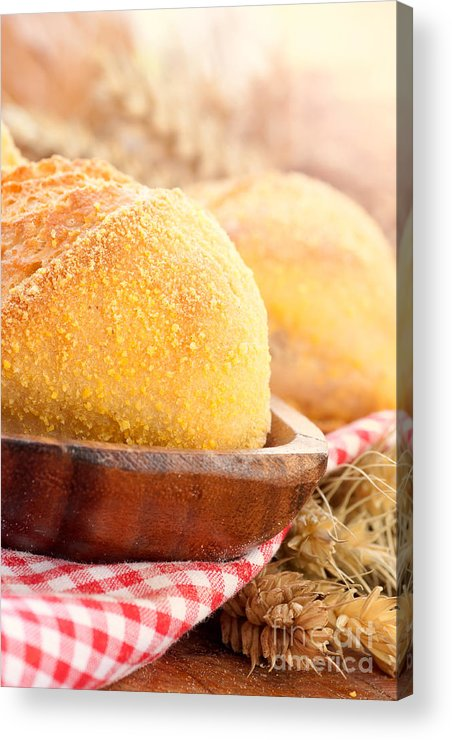 Background Acrylic Print featuring the photograph Freshly Baked Bread by Mythja Photography