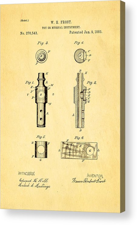 Famous Acrylic Print featuring the photograph Frost Kazoo Patent Art 1883 by Ian Monk