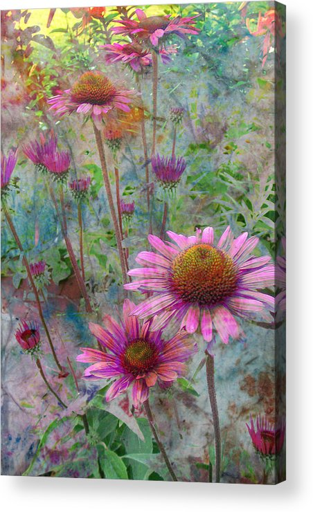 Flowers Acrylic Print featuring the digital art Garden Pink And Abstract Painting by Anita Burgermeister