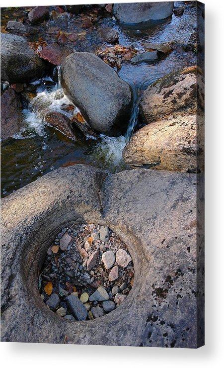 Gauthier Creek Rocks   A Zen Moment Acrylic Print featuring the photograph Gauthier Creek Point Of Interest by Sandra Updyke