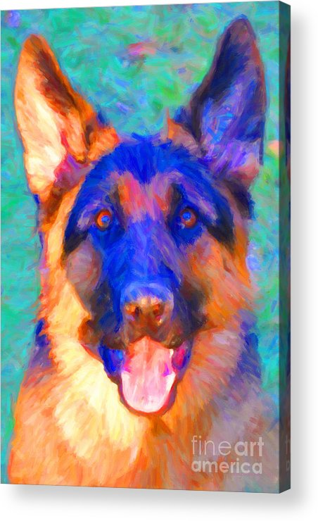 Animal Acrylic Print featuring the photograph German Shepard - Painterly by Wingsdomain Art and Photography