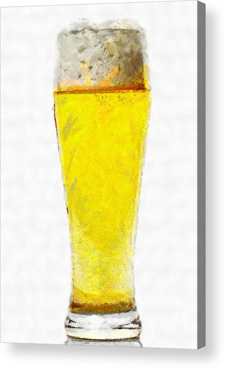 Beer Acrylic Print featuring the painting Glass Of Beer Painting by Magomed Magomedagaev