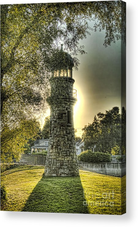 Como Lake Park Acrylic Print featuring the photograph Glowing Lighthouse by Jim Lepard