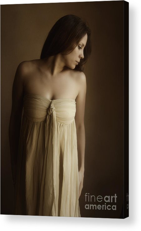 Caucasian; Woman; Lady; Female; Pretty; Beautiful; Brunette; Gold; Golden; Dress; Prim; Proper; Feminine; In Thought; Thinking; Sad; Dark; Darkness Acrylic Print featuring the photograph Golden by Margie Hurwich