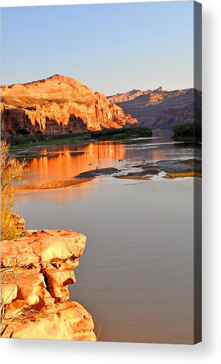 Sunset Acrylic Print featuring the photograph Golden Sunset On The Colorado by Marty Koch