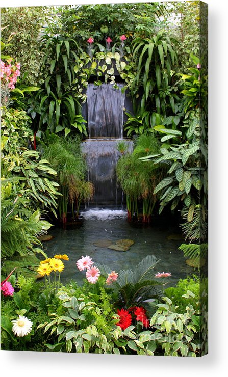 Waterfall Acrylic Print featuring the photograph Greenhouse Garden Waterfall by Carol Groenen