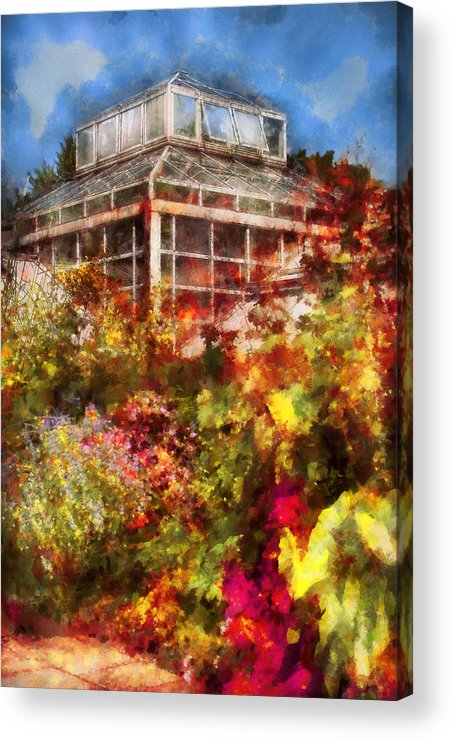Savad Acrylic Print featuring the digital art Greenhouse - The Greenhouse And The Garden by Mike Savad