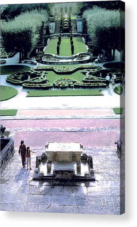 Woman Acrylic Print featuring the photograph Grounds At Viscaya Mansion In Miami by Carl Purcell