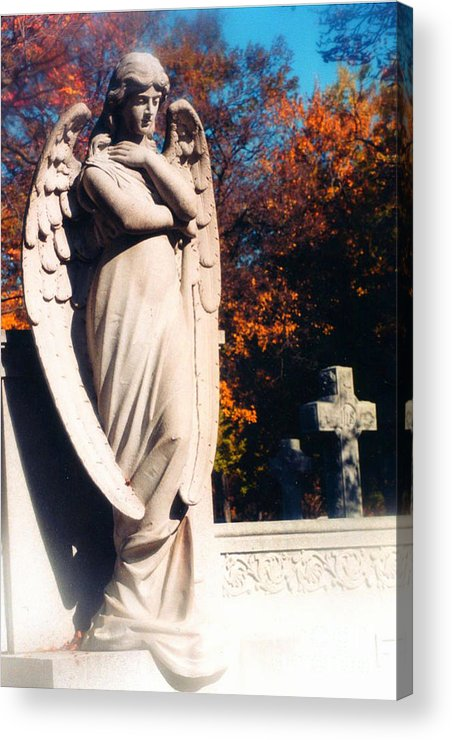 Angel Art Prints Acrylic Print featuring the photograph Guardian Angel Statue With Cemetery Cross by Kathy Fornal