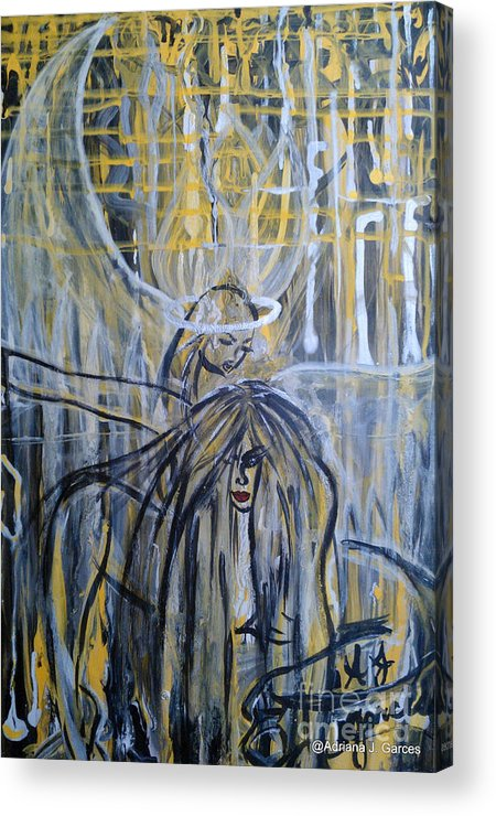 Figurative-abstract Acrylic Print featuring the painting Guardian Whisper by Adriana Garces