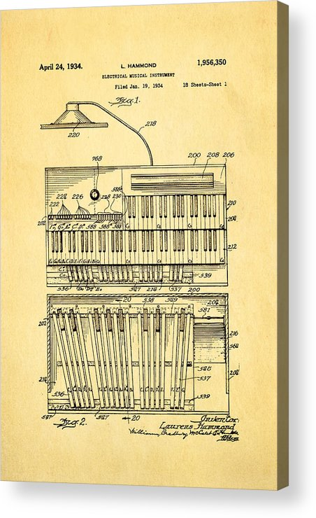 Famous Acrylic Print featuring the photograph Hammond Organ Patent Art 1934 by Ian Monk