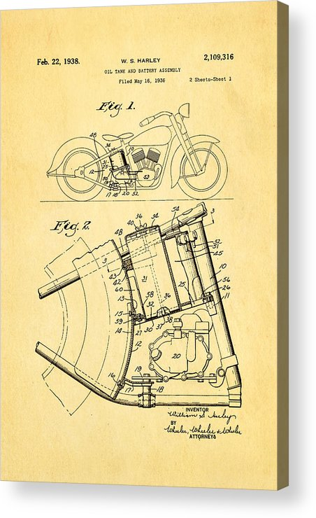 Engineer Acrylic Print featuring the photograph Harley Davidson Horseshoe Oil Tank Patent Art 1938 by Ian Monk
