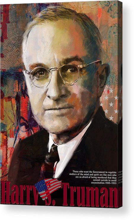 Harry S. Truman Acrylic Print featuring the painting Harry S. Truman by Corporate Art Task Force