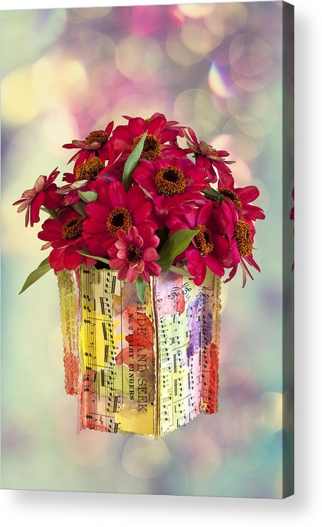 Zinnias Acrylic Print featuring the photograph Hide And Seek Zinnias by Sandra Foster