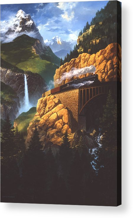 Landscape Acrylic Print featuring the painting High Run by Tom Wooldridge
