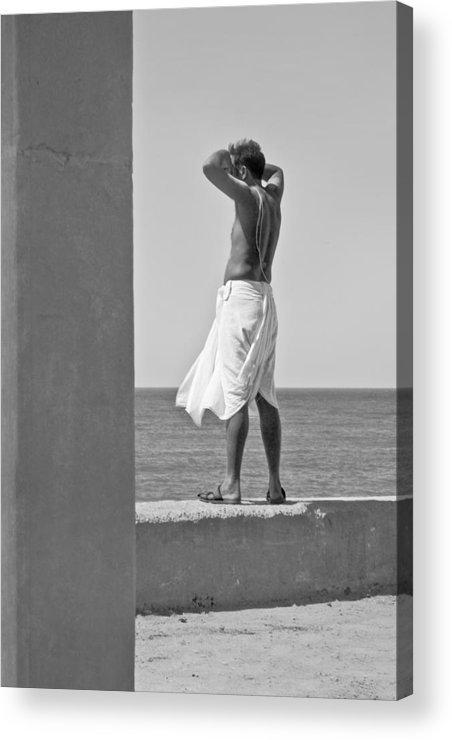 Vertical Acrylic Print featuring the photograph Hindu Priest Homage To Sun And Arabian by Kantilal Patel