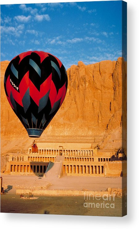 Travel Acrylic Print featuring the photograph Hot Air Balloon Over Thebes Temple by John G Ross