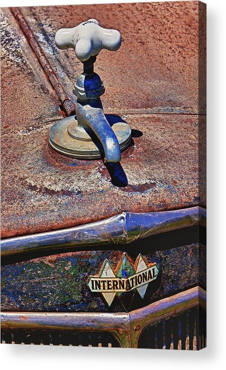 Hot Faucet Acrylic Print featuring the photograph Hot Faucet Hood Ornament by Garry Gay