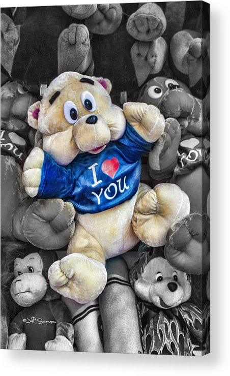 Teddy Bear Acrylic Print featuring the photograph I Love You by Jeff Swanson