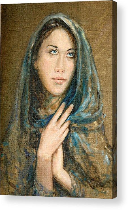 Portrait Acrylic Print featuring the painting Ikesia by Sefedin Stafa