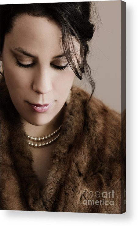 Woman; Lady; Female; Beautiful; Elegant; Formal; Fur; Coat; Neck; Chin; Pearls; String; Wealthy; Expensive; Lips; Lipstick; Looking Down; In Thought; Sad; Depressed; Loss; Caucasian Acrylic Print featuring the photograph In Thought by Margie Hurwich