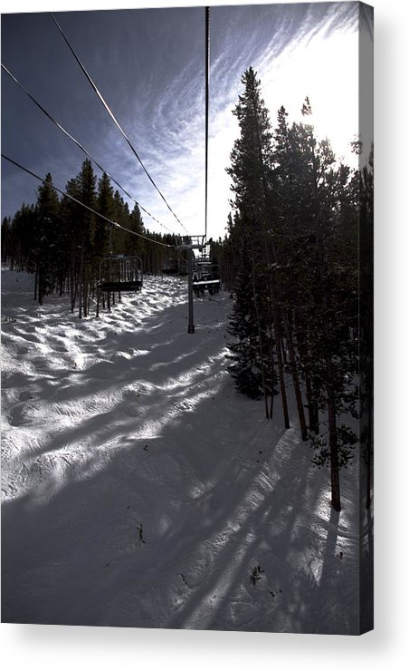 Vail Snow Ski Board Powder Nature Mountains Acrylic Print featuring the photograph Into The Sun by Nic Vasquez
