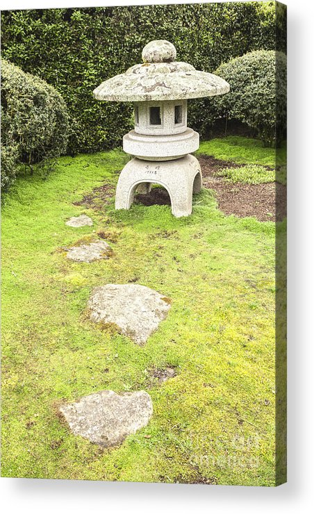 Contemplation Acrylic Print featuring the photograph Japanese Stone Lantern Hamilton Gardens New Zealand by Colin and Linda McKie