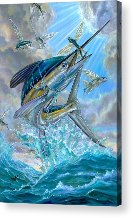 White Marlin Acrylic Print featuring the painting Jumping White Marlin And Flying Fish by Terry Fox