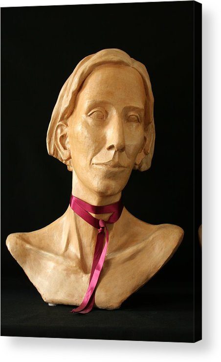 Portrait Sculpture Acrylic Print featuring the sculpture Katherine by Flow Fitzgerald