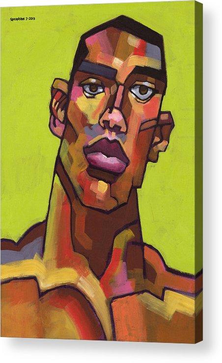 Portrait Acrylic Print featuring the painting Killer Joe by Douglas Simonson