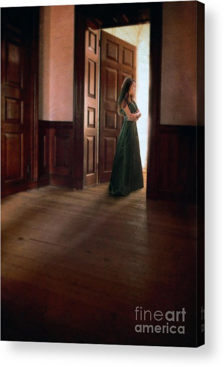 Beautiful Acrylic Print featuring the photograph Lady In Green Gown In Doorway by Jill Battaglia