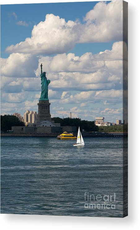 America Acrylic Print featuring the photograph Lady Liberty With Sailboat And Water Taxi by Jannis Werner