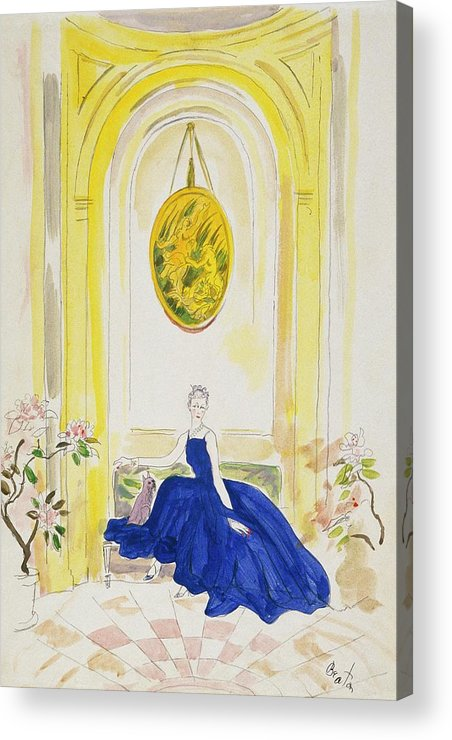 Animal Acrylic Print featuring the digital art Lady Mendl Wearing A Blue Dress by Cecil Beaton