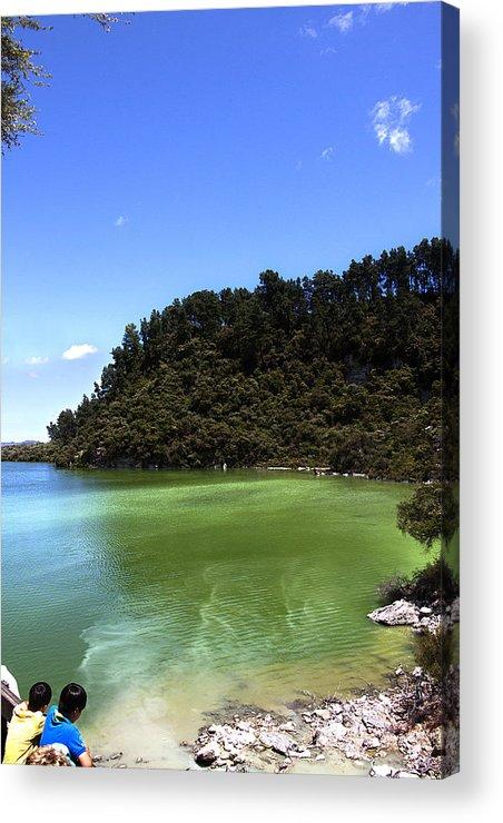 New Zealand Acrylic Print featuring the photograph Lake Ngakoro Rotorua New Zealand by Peter Lloyd