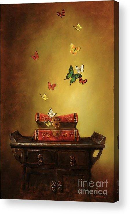 Tibetan Acrylic Print featuring the painting Liberation - Tibetan Dream by Lori McNee