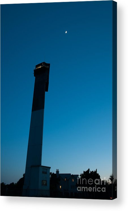 Sullivan's Island Lighthouse Acrylic Print featuring the photograph Lighthouse And Moon by Dale Powell